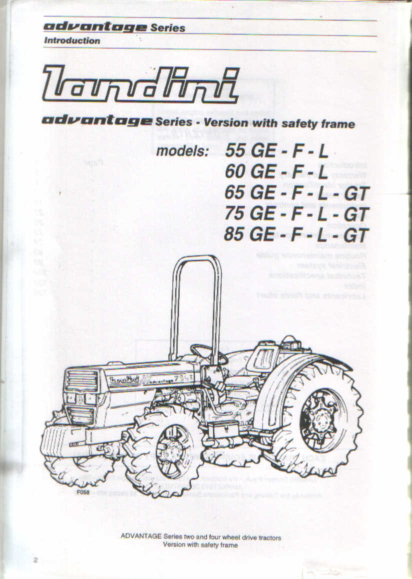 Landini Tractor Advantage Series 55 60 65 75 85 Versions